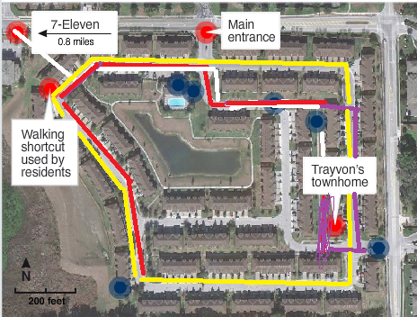 """""""Yellow Line is Retreat View Circle""""/ Shortcut is Location of Frank Taafe's Home/ Purple Line Is GZ Walking Route/ White Line is TM Walking Route/ Red Line Is GZ Route While In Vehicle"""