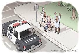 images one man hands up..w police card 2 white folks w hands down