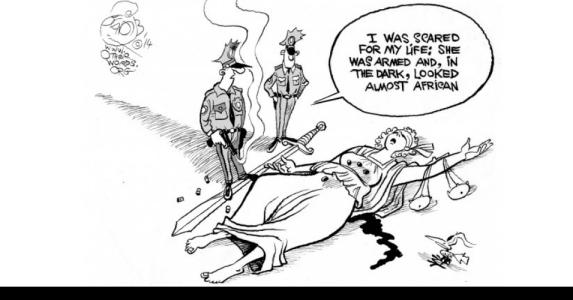 lady-justice-gunned-down-cartoon racism fergoson great cartoon