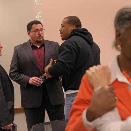 Ferguson Police Chief Thomas Jackson and Mayor John Knowles at Harvard to participate in a discussion with Ferguson lwaders