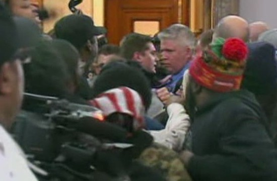 1/28/15 ST. LOUIS TOWN HALL MEETING ENDED IN A BRAWL LED BY UNION LEADER JEFF ROORDA