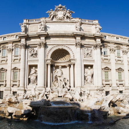 Front view of the Trevi Fountain. Rome, Italy which is in the process of being restored. 2015
