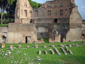 Palatine-Hill overlooks-the-Forum-Romanum-and-is-the-site-of-the-palace-ruins-of Emporers.