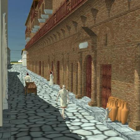 Reconstruction Drawing of What Part of Ostia Antica Looked Like in Ancient Rome