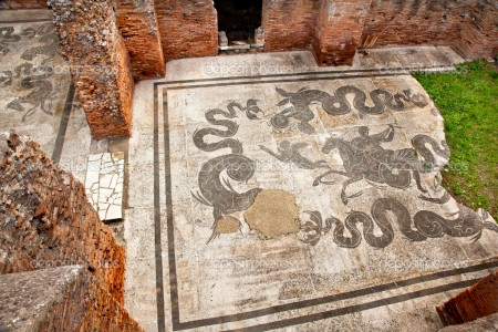 Ancient Roman Baths of Neptune Mosaic Floors Ostia Antica Ruins