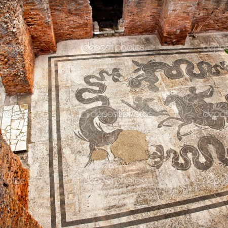 Ancient Roman Baths of Neptune Mosaic Floors Ostia Antica Ruins