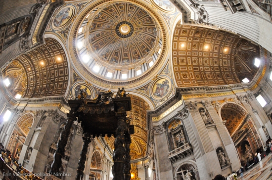 Bernini's baldacchino in St. Peter's Basilica,  on main floor which is structure over St. Peter's grave below.