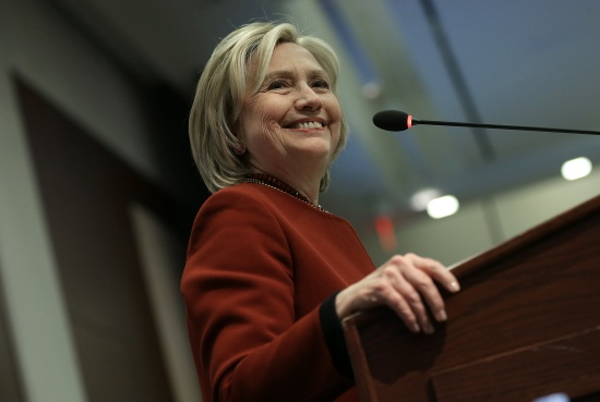 Hillary Clinton speaks at an award ceremony for the 2015 Toner Prize for Excellence in Political Reporting March 23, 2015 in Washington, DC. (Photo by Win McNamee/Getty Images)