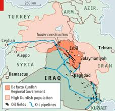 MAP SHOWING TERRITORY UNDER CONTROL OF THE KURDS