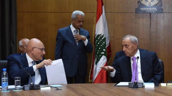 Lebanese Prime Minister and temporary President, Tamam Salam (left) and Parliament Speaker Nabih Berri