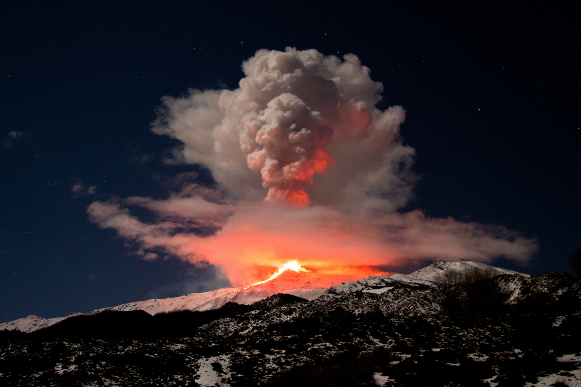 Dramatic and beautiful volcanic eruption