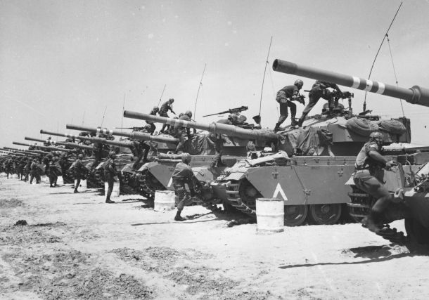 June 1967: Israeli Centurion tank corps prepare for battle during the Six-Day War. (Photo by Three Lions/Getty Images)