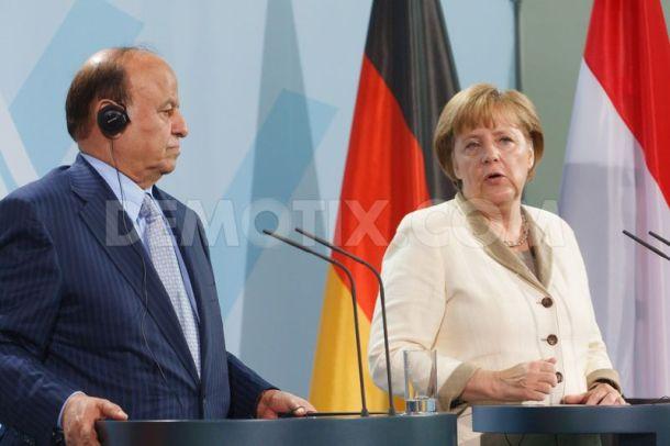 Yemen President Hadi with German Chancellor Merkel
