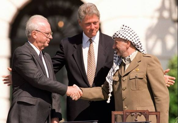 President of Israel, Shimon Peres and Palestinian Yasser Arafat