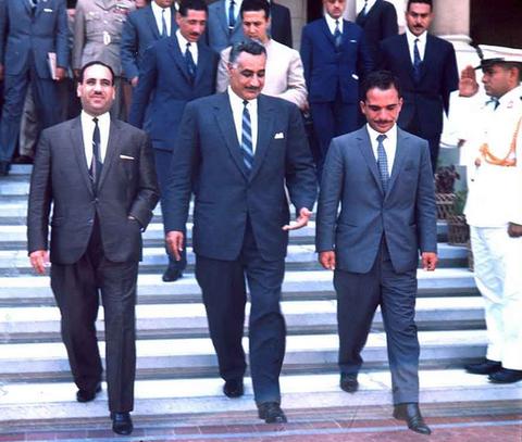 IRAQI PRESIDENT ABDUL SALAM ARIF; EGYPTIAN PRESIDENT NASSER AND KING HUSSEIN OF JORDAN