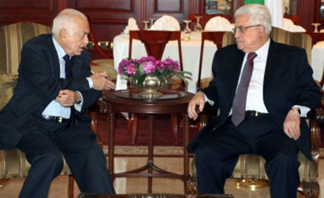 Palestine Prime Minister Mahmoud Abbas talking with Hamas