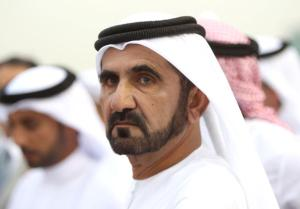 DUBAI, UNITED ARAB EMIRATES - MARCH 27: Sheikh Maktoum bin Rashid Al Maktoum watches the racing during the Dubai World Cup at the Maydan Racecourse. United Arab Emirates. (Photo by Chris Jackson/Getty Images)