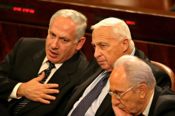 Israeli leaders, Benjamin Netanyahu, Ariel Sharon, and Shimon Perez