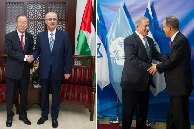 Secretary-General Ban Ki-moon meets with Prime Minister Rami Hamdallah of the State of Palestine (left) and with Israeli Prime Minister Benjamin Netanyahu (right). © UN Photo/Eskinder Debebe