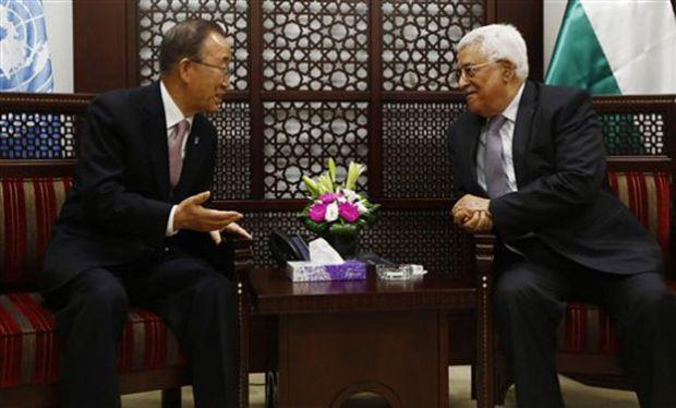 UN Secretary Ban Ki-Moon and Palestinian President Mahmoud Abbas