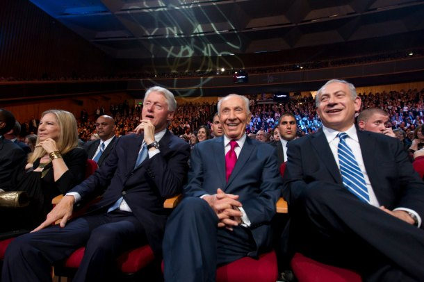 President Clinton with Benjamin Netanyahu of Israel and Yasser Arafat of Palestine