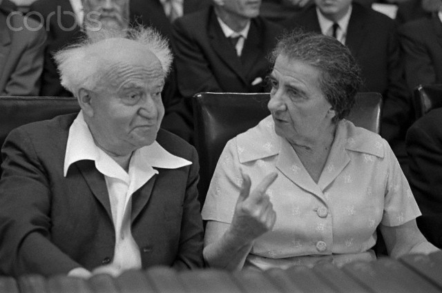 The two Israeli politicians, David Ben-Gurion and Golda Meir are seated at the Cabinet table in the Knesset. --- Image by © David Rubinger/CORBIS