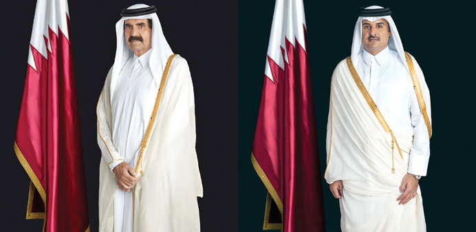 Father His Highness Emir Sheikh Hamad bin Khalifa al-Thani and HH the Emir Sheikh Tamim bin Hamad al-Thani
