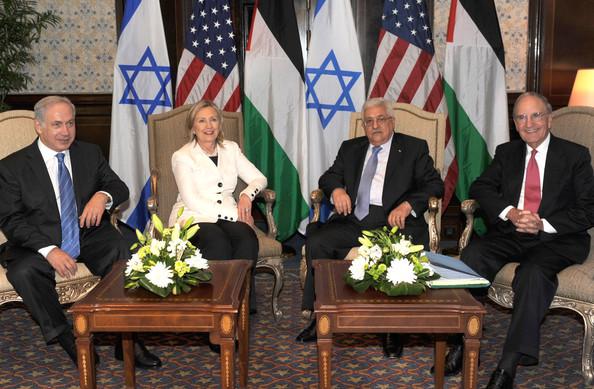 Israeli PM Netanyahu, Hillary Clinton, Palestinian PM Mahmoud Abbas, Jordan PM Abdullah II