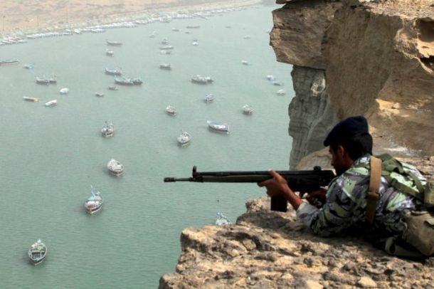Iranian soldier at the Strait of Hormuz