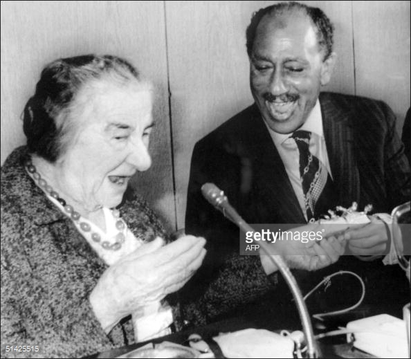 Photo of Israeli former PM Golda Maier and Egyptian former President Anwar Sadat