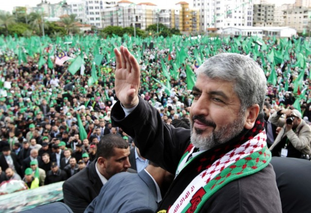 Hamas leader Khaled Meshaal in rally