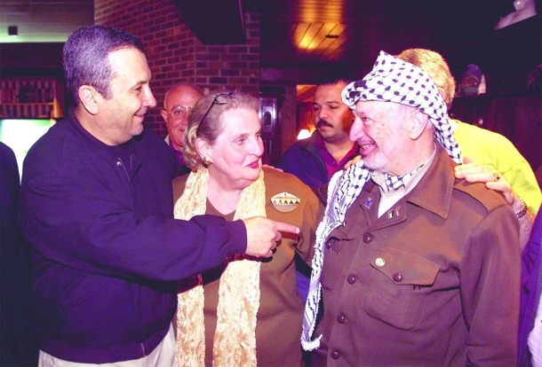 Egyptian President, Ehud Barak, US Secretary of State and Palestinian Chairman, Yasser Arafat