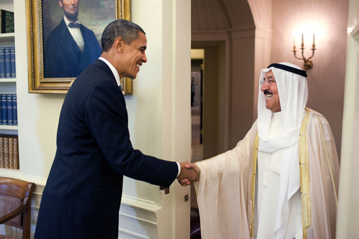 President Barack Obama welcomes Kuwait Emir Shaykh Al-Ahmad Al-Jaber Al Sabah to the Oval Office Monday, August 3, 2009. (Official White House Photo by Pete Souza)