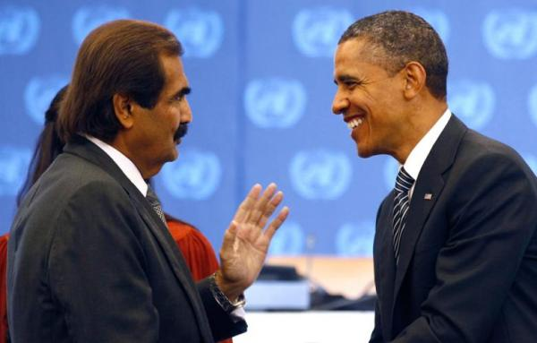 President-Obama-is-greeted-by-the-Emir-of-Qatar-Sheikh-Hamad-bin-Khalifa-Al-Thani-