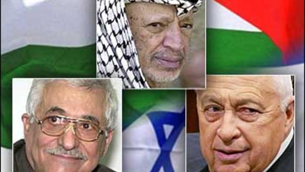 Palestinian leaders, Mahmoud Abbas, Yasser Arafat and Israeli Prime Minister, Ariel Sharon (2001-2006)