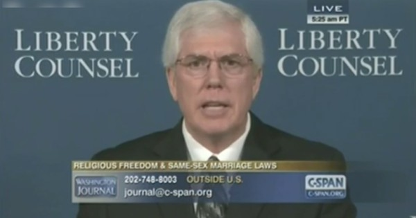 "Attorney Matt Staver, president of Liberty Counsel, and author of 2004 book ""Same Sex Marriage: Putting Every Household at Risk."""