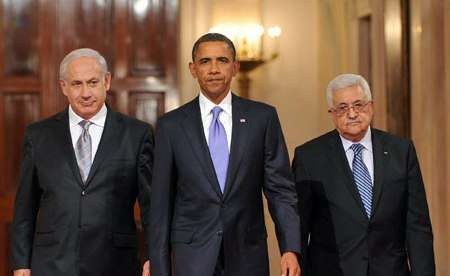 Israeli PM Benjamin Netanyahu, US President Barack Obama and Palestinian PM Mahmoud Abbas