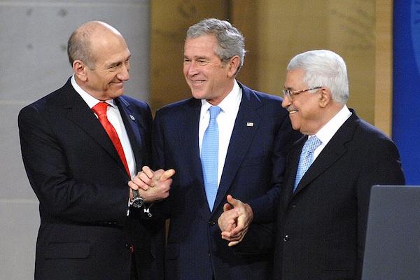 Israel PM Ehud Olmert, US President George Bush and Palestinian PM Mahmoud Abbas