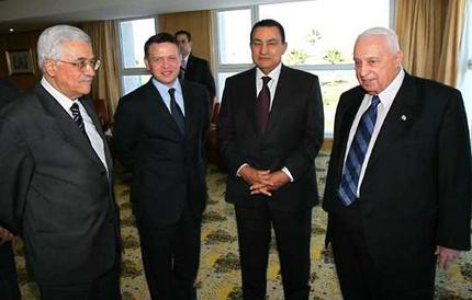 Palestinian-Prime-Minister-Mahmoud-Abbas-Jordanian-King-Abdullah-ii-Egyptian-President-Hosni-Mubarak-and-israeli-Prime-Minister-Ariel-Sharon