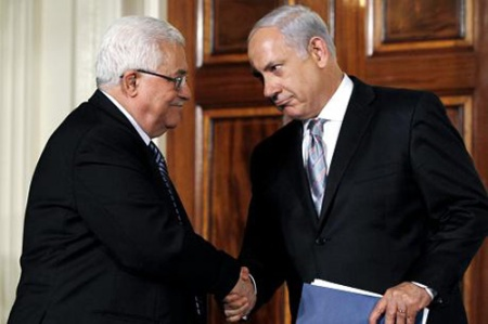 PEACE TALKS BETWEEN PALESTINIAN PM MAHMOUD ABBAS AND ISRAELI PM BENJAMIN NETANYAHU