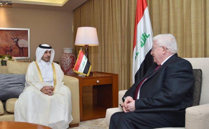 IRAQI PRESIDENT FAUD MASUM (RT) AND QATAR PM, Abdullah BIN NASSER