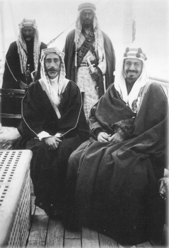 King Faisal with King Abdul Aziz (right)