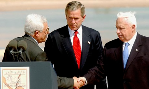Palestinian leader, Mahmoud Abbas, President George Bush and Israeli PM Ariel Sharon