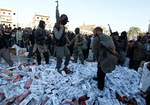 ISIS destroying cigarettes