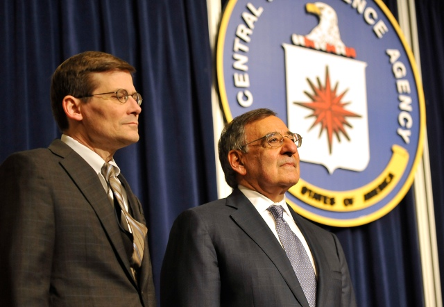 Secretary of Defense Leon E. Panetta stands with Michael Morell, acting director of the CIA, as a citation is read in Morell's honor. (DoD Photo By Glenn Fawcett) (Released)