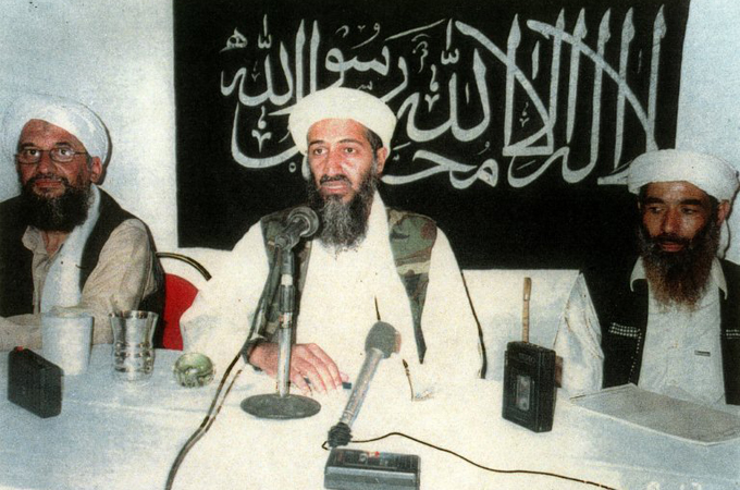 Al Qaeda leader Ayman al-Zawahiri on the left; believed to be 9/11 architect; US incorrectly declared him killed in 2006