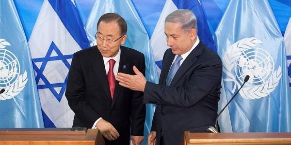 UN Secretary General Ban Ki Moon and Israel PM Benjamin Netanyahu