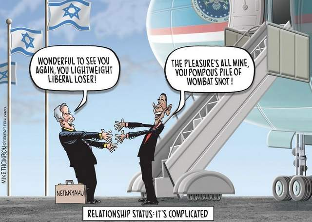 ISRAEL bilde GREAT CARTOON OBAMA NETANYAHU