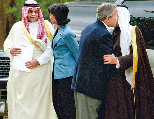 From left to right: Saudi Prince Bandar; Us Sec of state Rice; US President Bush; and Saudi King Abdullah