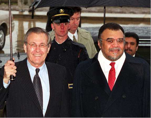 US Secretary of Defense Donald Rumsfeld from 2001-2006 and Saudi Prince Bandar bin Sultan, Head of Saudi Intelligence from 2012-2014 and previously Saudi Ambassador to US